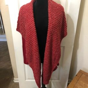 Metallic Red Open Front Cardigan Med Lucky Brand